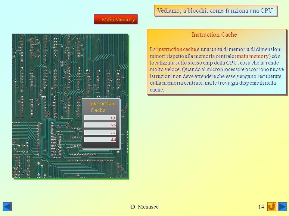 D. Menasce13 Vediamo, a blocchi, come funziona una CPU Main Memory La memoria centrale (da non confondere con i dischi) è anche detta RAM. Essa presie