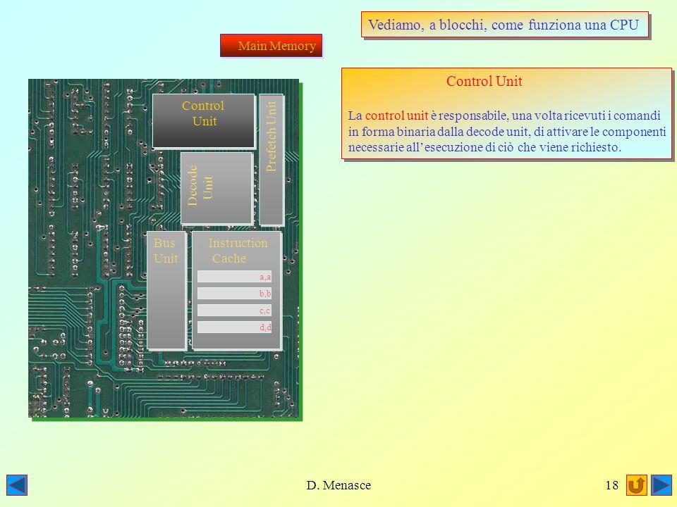 D. Menasce17 Vediamo, a blocchi, come funziona una CPU Main Memory Decode Unit La decode unit è preposta alla decodifica delle istruzioni provenienti