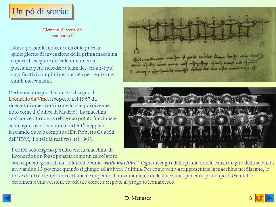 D. Menasce2 Il programma del Corso Prima Terza Elementi di storia del calcolatore 1) Larchitettura interna di un calcolatore 2)