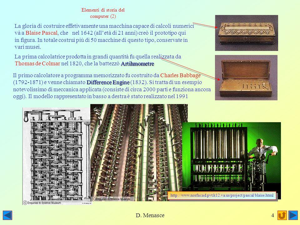 D. Menasce3 Un pò di storia: Non è possibile indicare una data precisa quale giorno di invenzione della prima macchina capace di eseguire dei calcoli