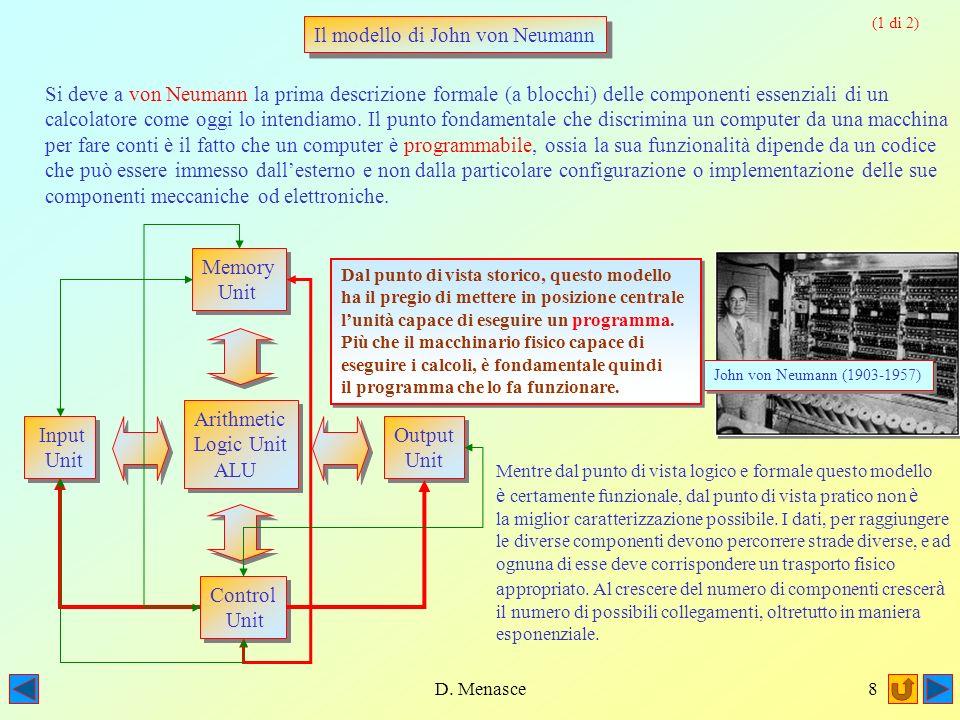 D. Menasce7 La possibilità reale di programmare una macchina capace di eseguire dei calcoli dovette però attendere lo sviluppo dellelettronica. Solo c