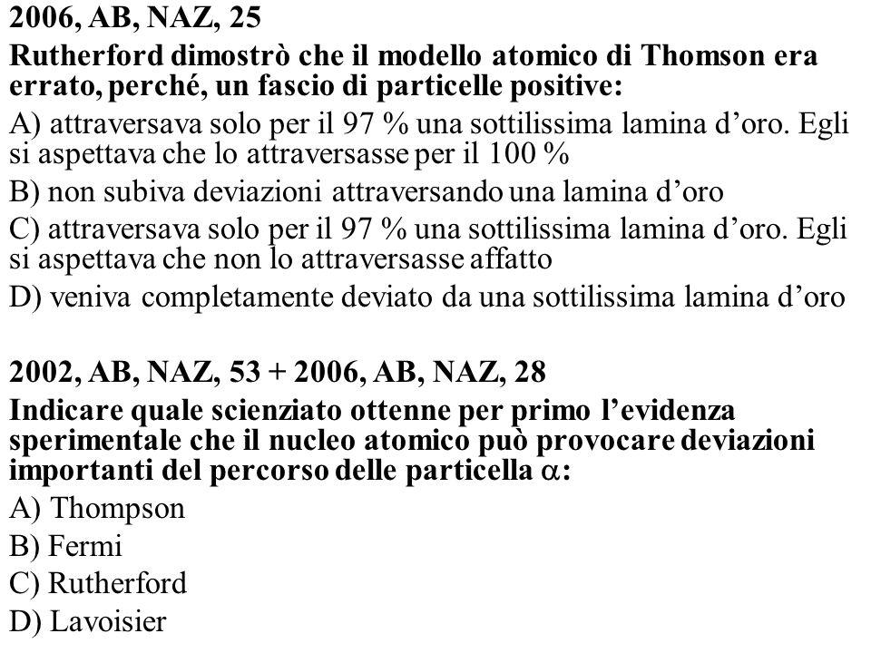 2006, AB, NAZ, 25 Rutherford dimostrò che il modello atomico di Thomson era errato, perché, un fascio di particelle positive: A) attraversava solo per