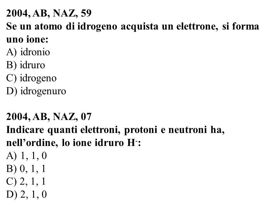 2004, AB, NAZ, 59 Se un atomo di idrogeno acquista un elettrone, si forma uno ione: A) idronio B) idruro C) idrogeno D) idrogenuro 2004, AB, NAZ, 07 I