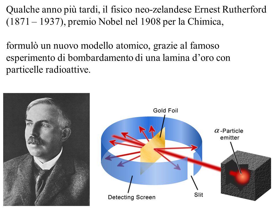 Qualche anno più tardi, il fisico neo-zelandese Ernest Rutherford (1871 – 1937), premio Nobel nel 1908 per la Chimica, formulò un nuovo modello atomic