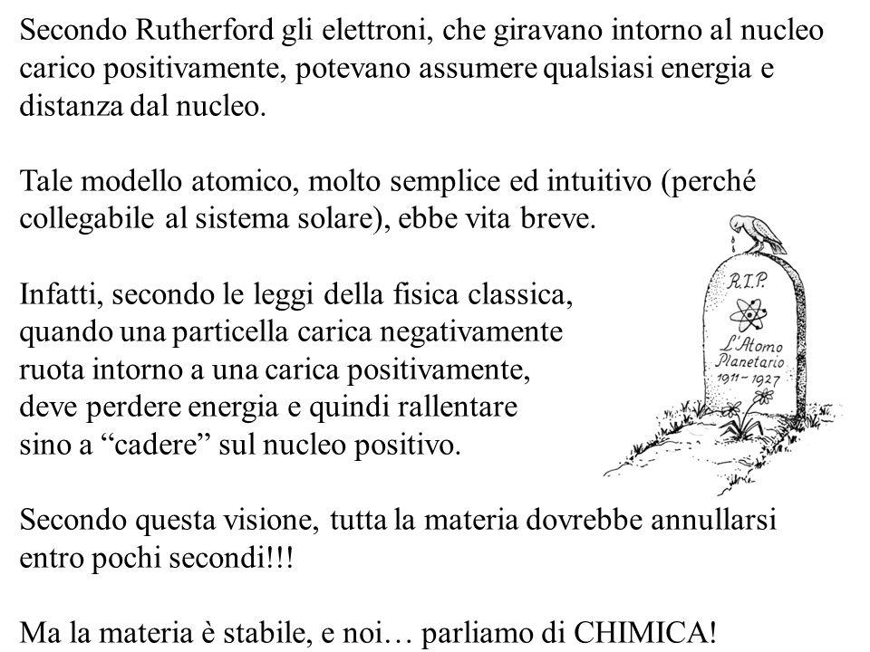 Secondo Rutherford gli elettroni, che giravano intorno al nucleo carico positivamente, potevano assumere qualsiasi energia e distanza dal nucleo. Tale