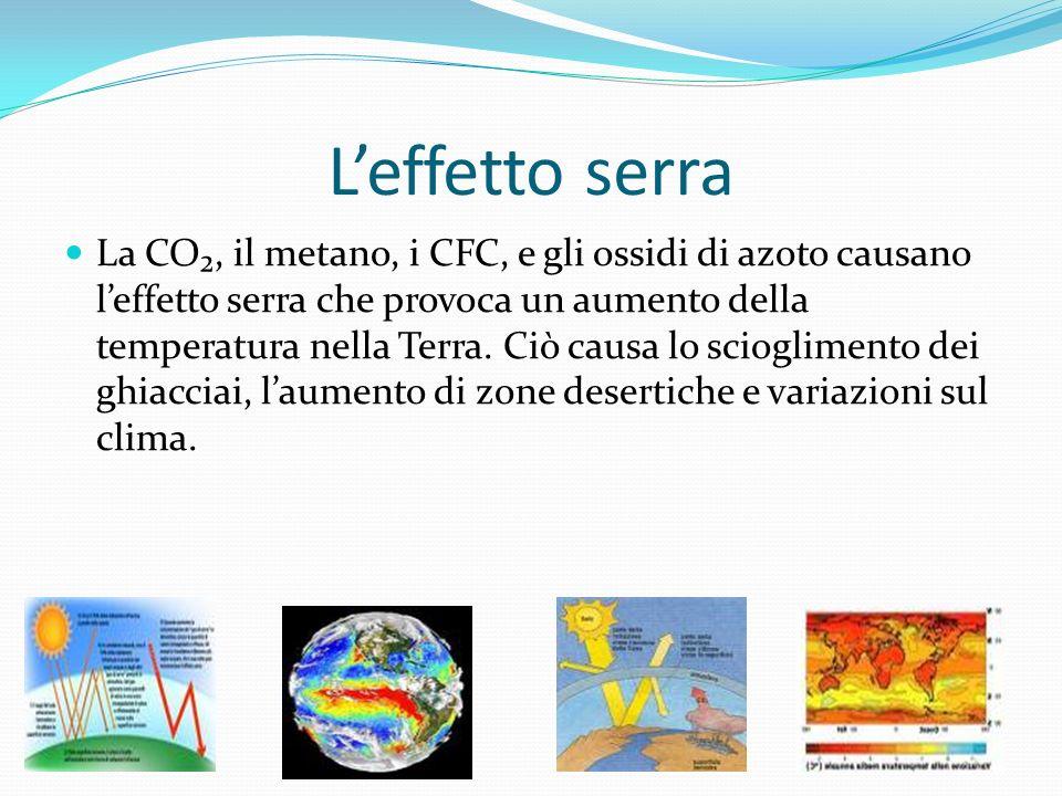 Leffetto serra La CO, il metano, i CFC, e gli ossidi di azoto causano leffetto serra che provoca un aumento della temperatura nella Terra. Ciò causa l