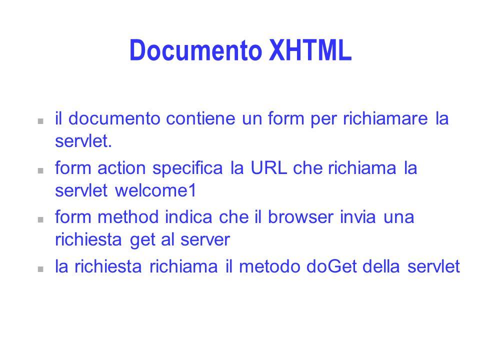 Documento XHTML n il documento contiene un form per richiamare la servlet. n form action specifica la URL che richiama la servlet welcome1 n form meth
