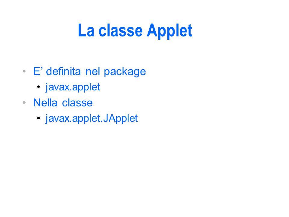 La classe Applet E definita nel package javax.applet Nella classe javax.applet.JApplet