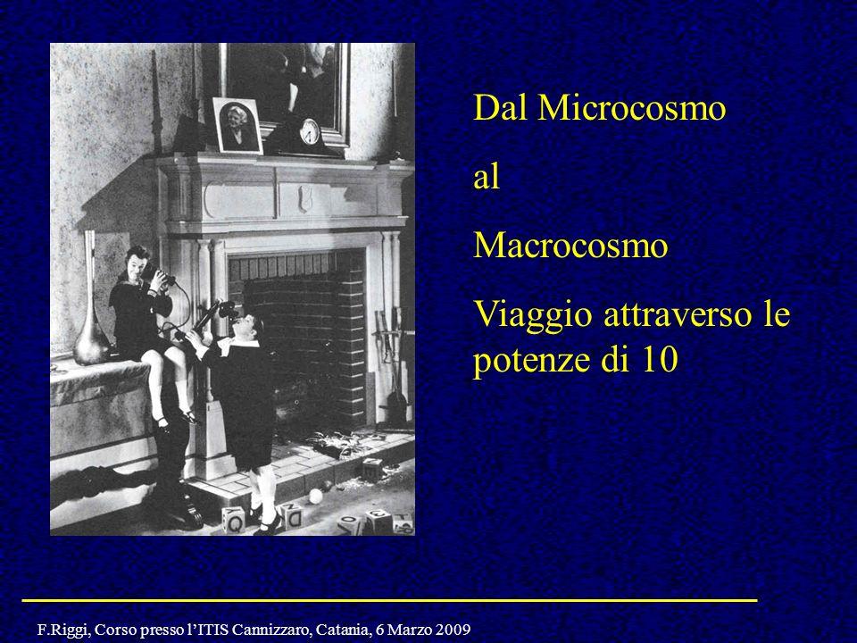 F.Riggi, Corso presso lITIS Cannizzaro, Catania, 6 Marzo 2009 Dal Microcosmo al Macrocosmo Viaggio attraverso le potenze di 10