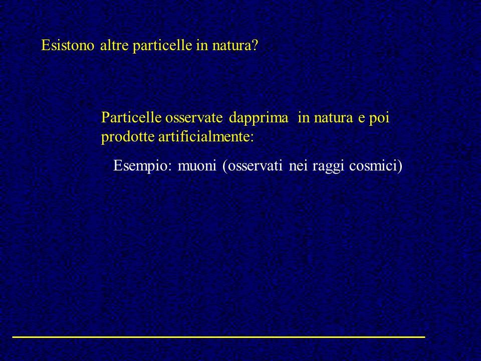 Esistono altre particelle in natura? Particelle osservate dapprima in natura e poi prodotte artificialmente: Esempio: muoni (osservati nei raggi cosmi