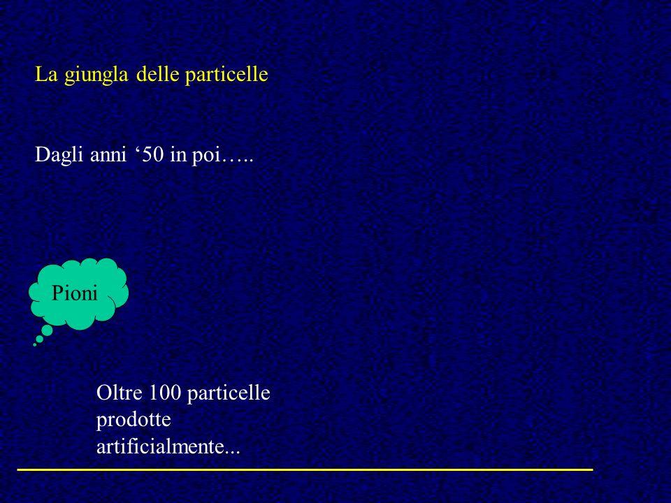 La giungla delle particelle Dagli anni 50 in poi….. Pioni Oltre 100 particelle prodotte artificialmente...