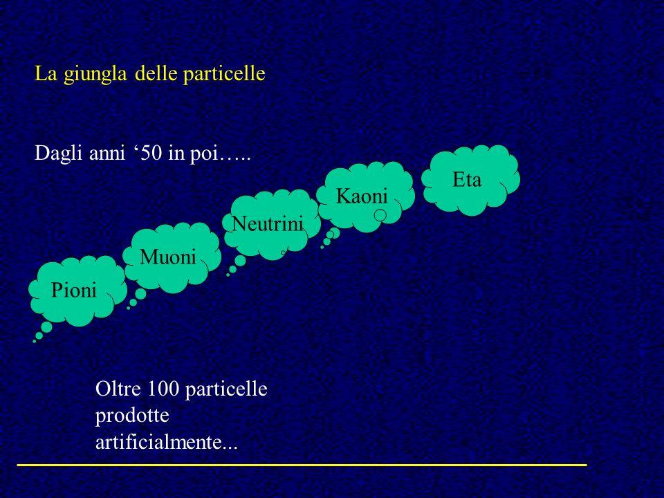 La giungla delle particelle Dagli anni 50 in poi….. Pioni Neutrini Muoni Kaoni Eta Oltre 100 particelle prodotte artificialmente...
