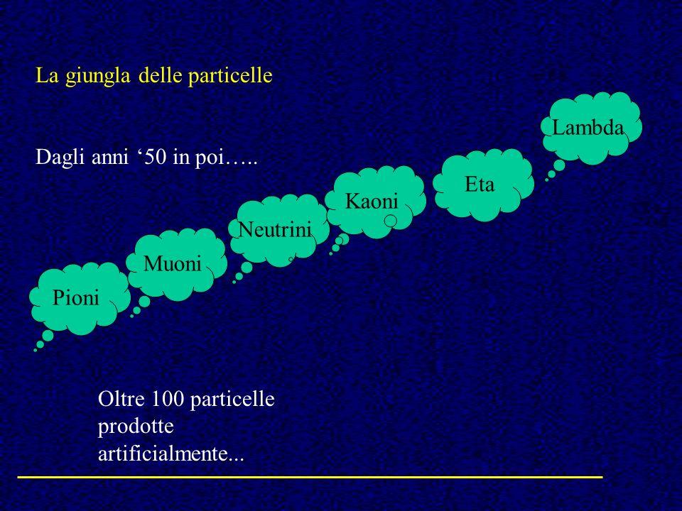 La giungla delle particelle Dagli anni 50 in poi….. Pioni Neutrini Muoni Kaoni Eta Lambda Oltre 100 particelle prodotte artificialmente...