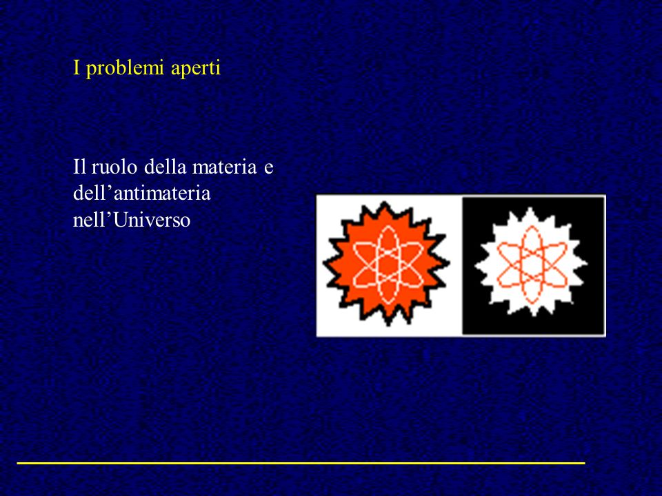 I problemi aperti Il ruolo della materia e dellantimateria nellUniverso