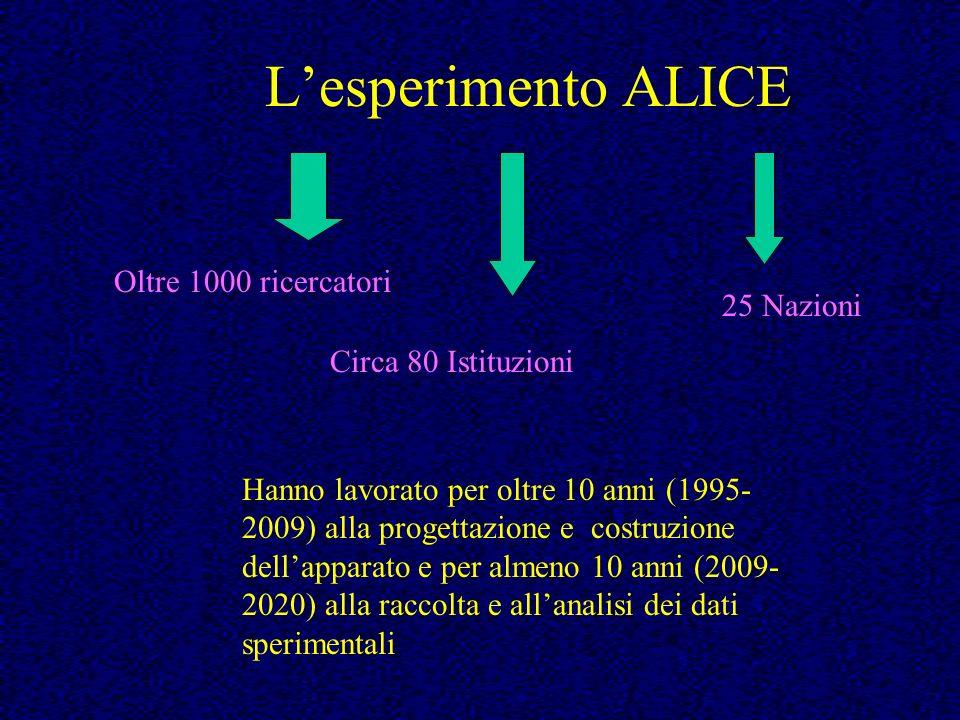 Lesperimento ALICE Oltre 1000 ricercatori Circa 80 Istituzioni 25 Nazioni Hanno lavorato per oltre 10 anni (1995- 2009) alla progettazione e costruzio