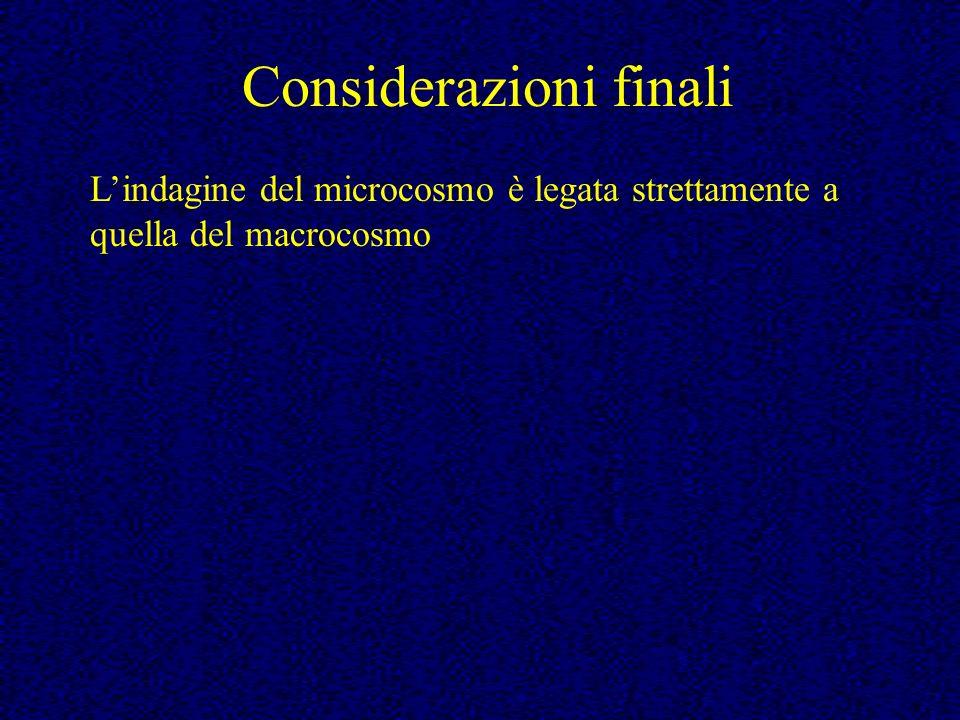 Lindagine del microcosmo è legata strettamente a quella del macrocosmo