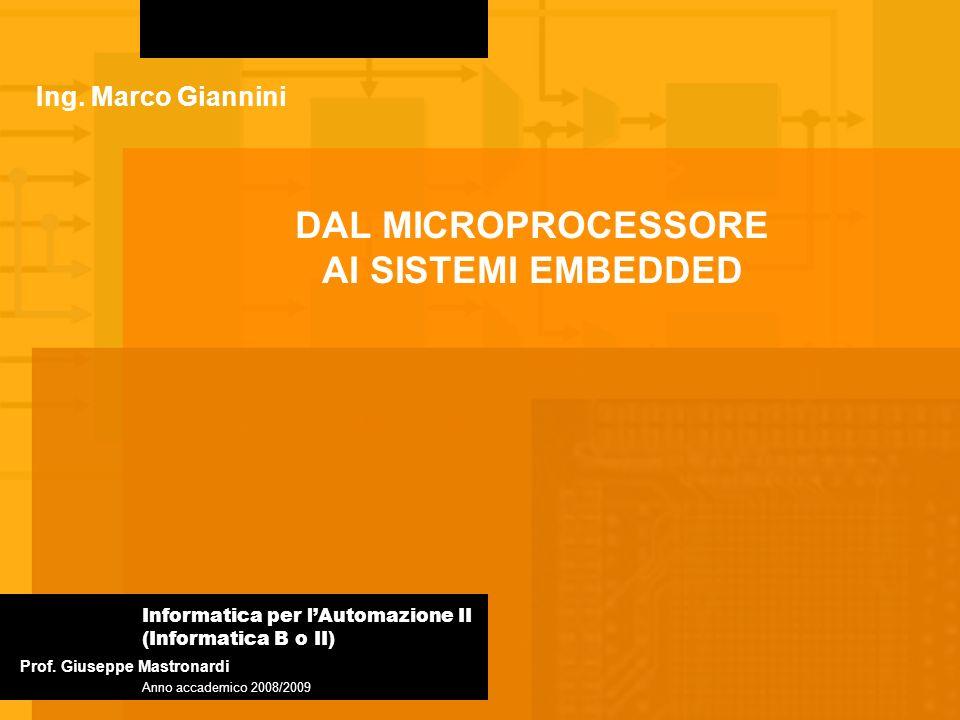 Vantaggi e svantaggi di un microcontrollore Ideali per sistemi embedded Maggiore efficienza delle istruzioni create apposta per svolgere operazioni specifiche Semplificazione nella scrittura dei programmi Costi contenuti Flessibilità limitata Risorse Limitate