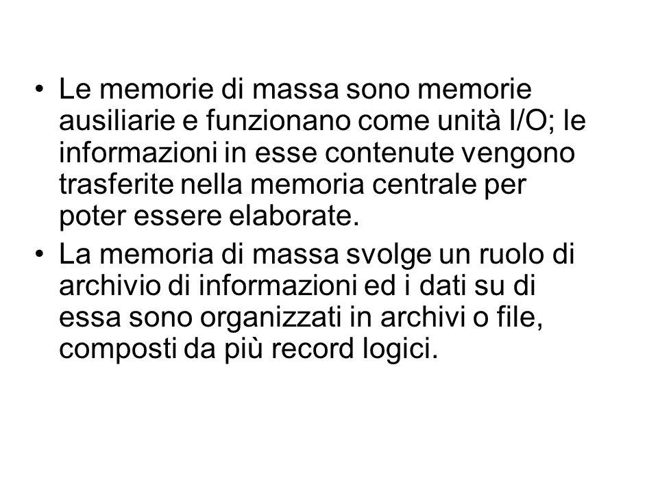 Le memorie di massa sono memorie ausiliarie e funzionano come unità I/O; le informazioni in esse contenute vengono trasferite nella memoria centrale per poter essere elaborate.