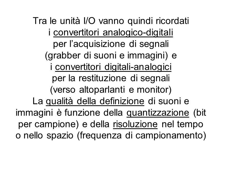 Tra le unità I/O vanno quindi ricordati i convertitori analogico-digitali per lacquisizione di segnali (grabber di suoni e immagini) e i convertitori