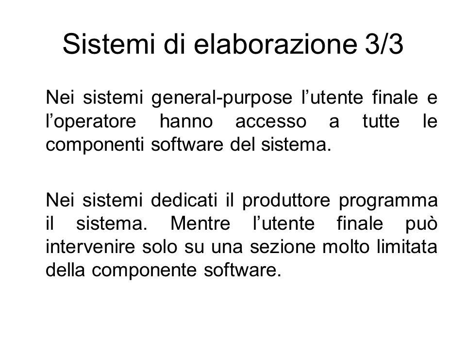 Sistemi di elaborazione 3/3 Nei sistemi general-purpose lutente finale e loperatore hanno accesso a tutte le componenti software del sistema. Nei sist