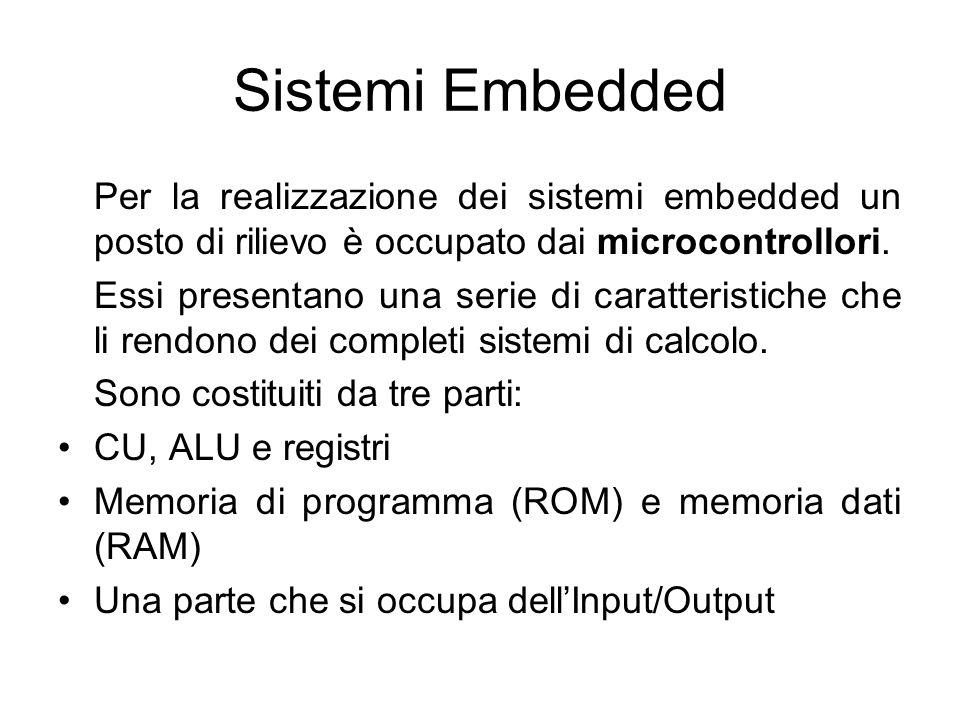 Sistemi Embedded Per la realizzazione dei sistemi embedded un posto di rilievo è occupato dai microcontrollori. Essi presentano una serie di caratteri