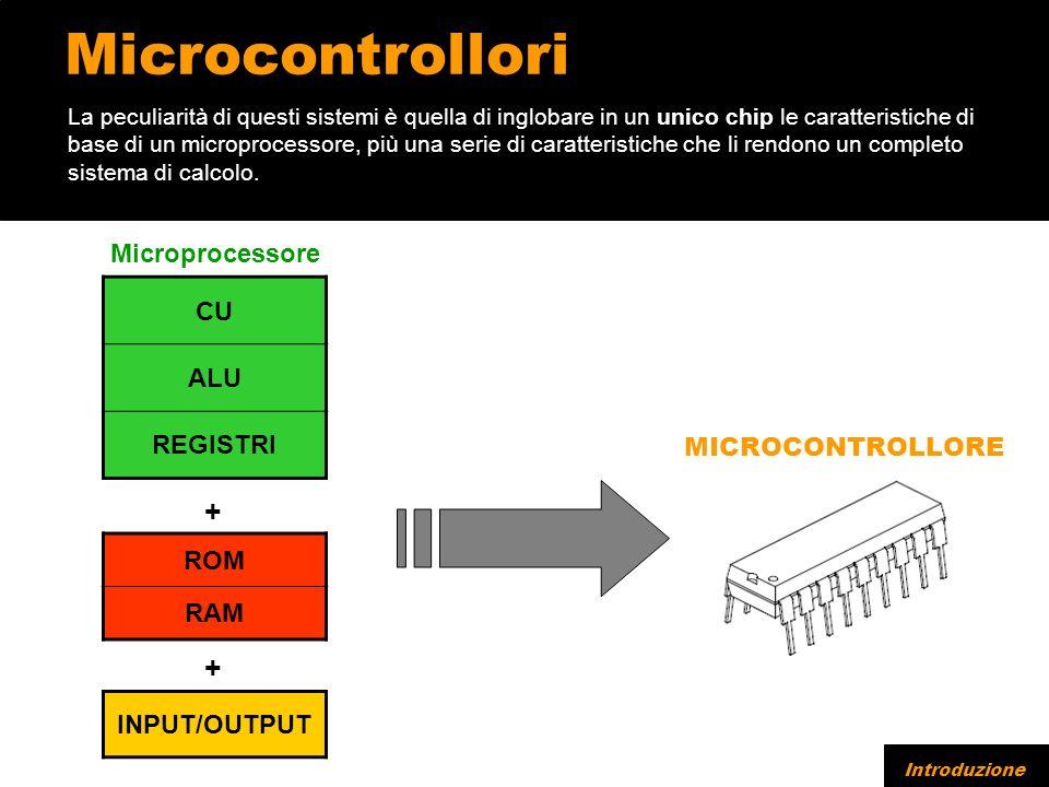 Microcontrollori CU ALU REGISTRI ROM RAM La peculiarità di questi sistemi è quella di inglobare in un unico chip le caratteristiche di base di un microprocessore, più una serie di caratteristiche che li rendono un completo sistema di calcolo.