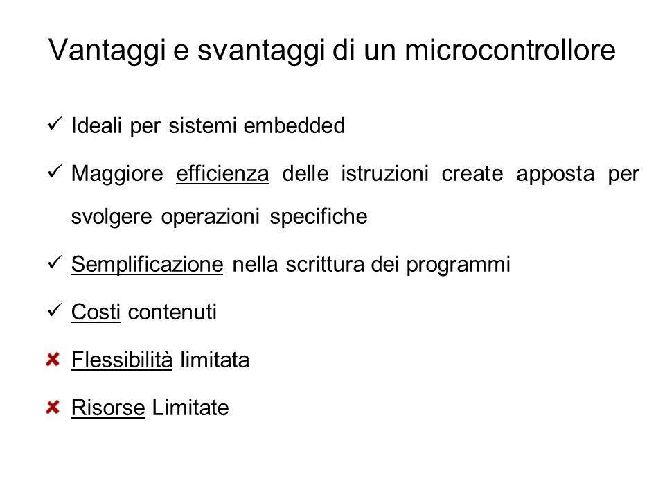 Vantaggi e svantaggi di un microcontrollore Ideali per sistemi embedded Maggiore efficienza delle istruzioni create apposta per svolgere operazioni sp