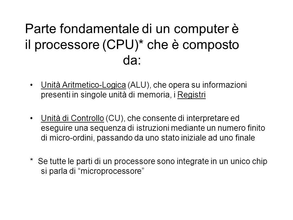 Parte fondamentale di un computer è il processore (CPU)* che è composto da: Unità Aritmetico-Logica (ALU), che opera su informazioni presenti in singo