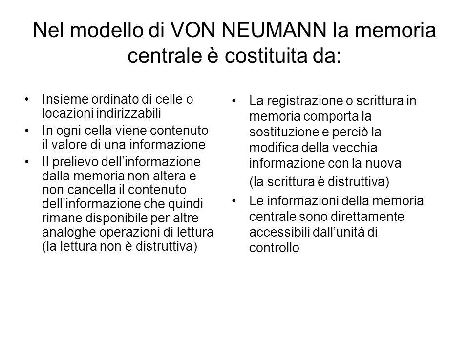 Nel modello di VON NEUMANN la memoria centrale è costituita da: Insieme ordinato di celle o locazioni indirizzabili In ogni cella viene contenuto il v