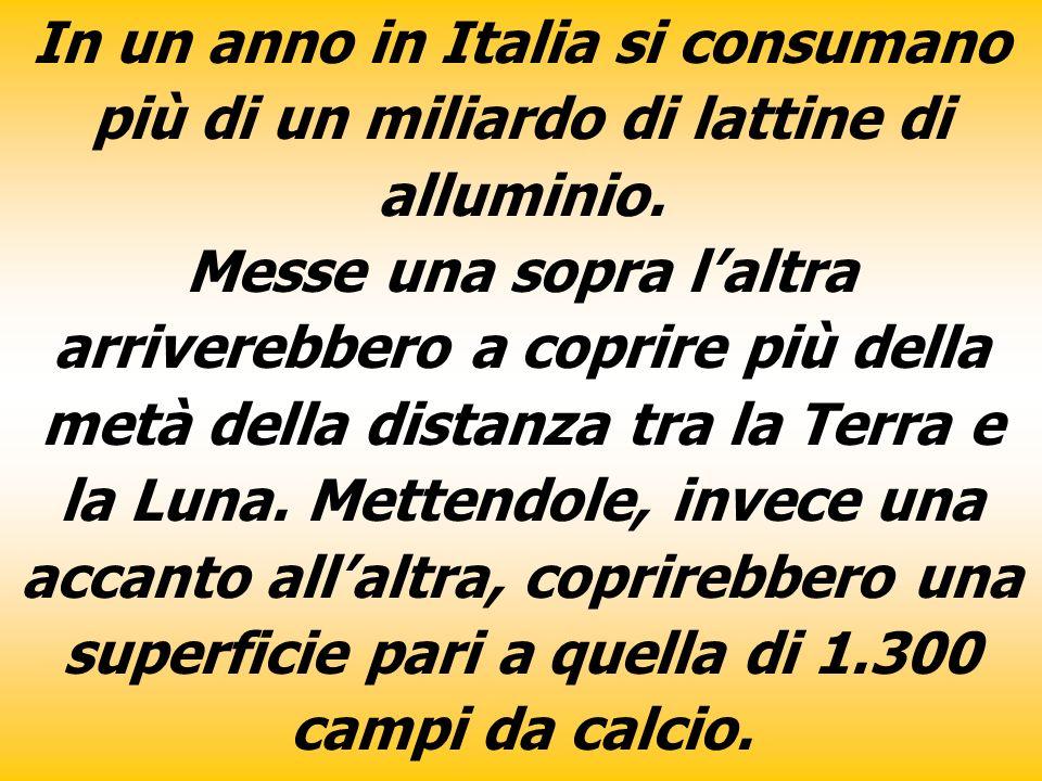 In un anno in Italia si consumano più di un miliardo di lattine di alluminio.