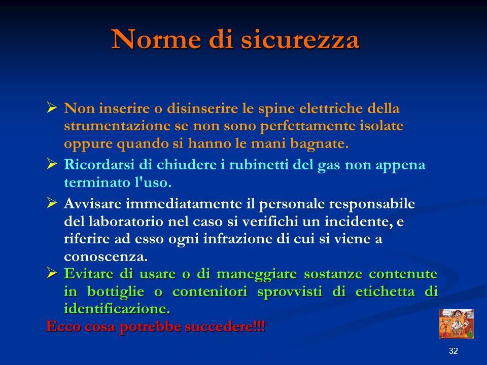 31 Norme di sicurezza Si devono evitare i contatti dei reagenti con la pelle, gli occhi e leventuale ingestione. In caso di contatto lavare ripetutame