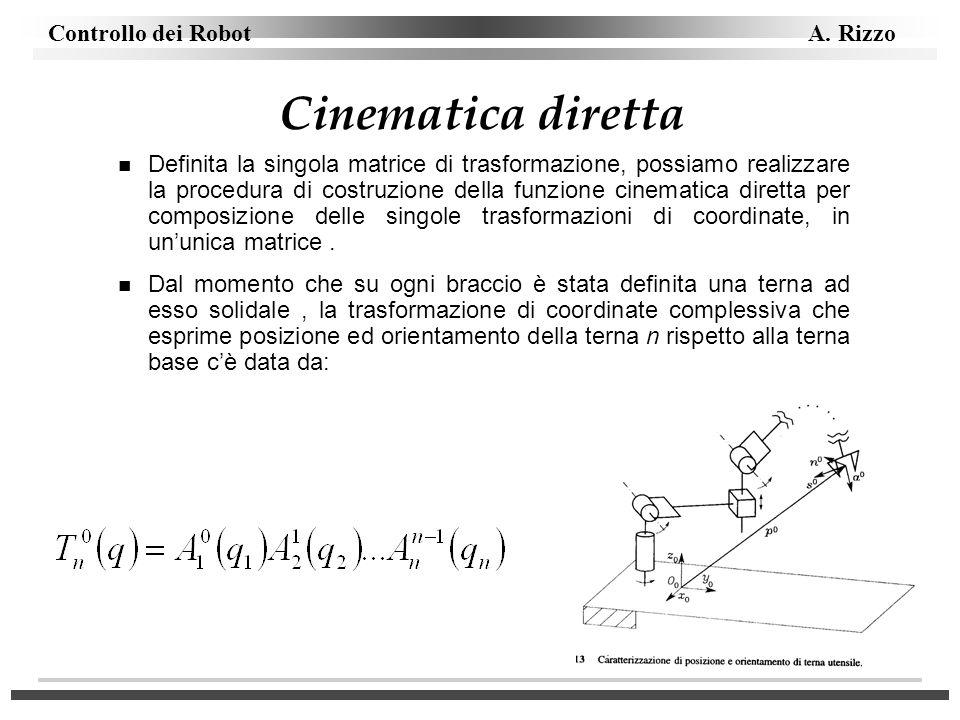 Controllo dei Robot A. Rizzo Cinematica diretta n Definita la singola matrice di trasformazione, possiamo realizzare la procedura di costruzione della