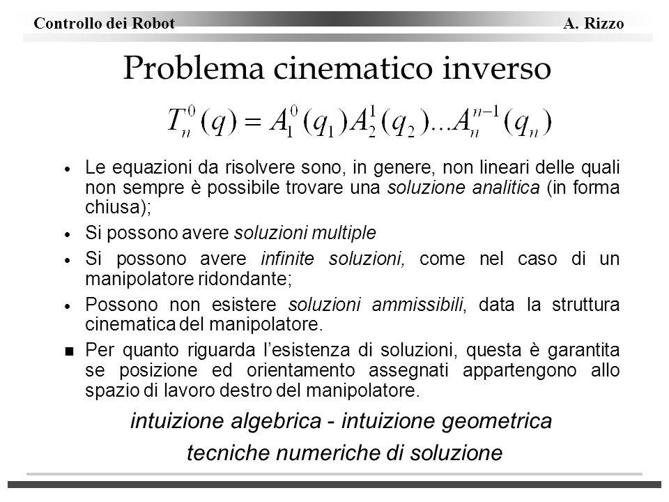 Controllo dei Robot A. Rizzo Problema cinematico inverso Le equazioni da risolvere sono, in genere, non lineari delle quali non sempre è possibile tro