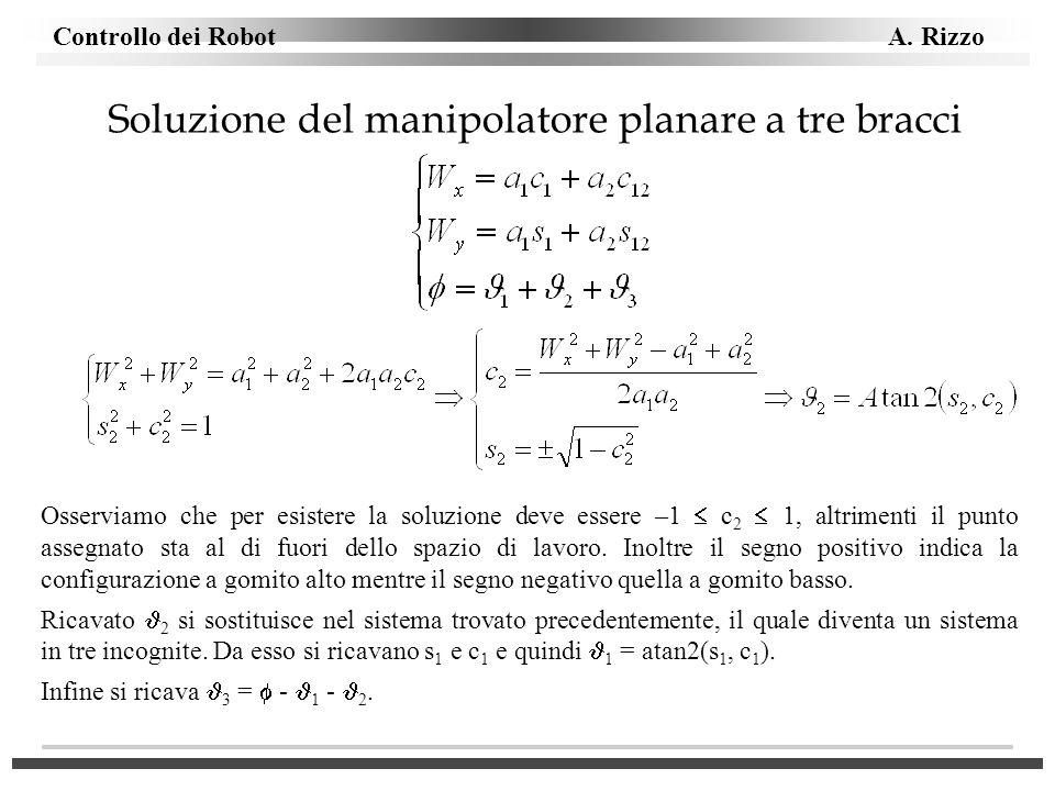Controllo dei Robot A. Rizzo Soluzione del manipolatore planare a tre bracci Osserviamo che per esistere la soluzione deve essere –1 c 2 1, altrimenti