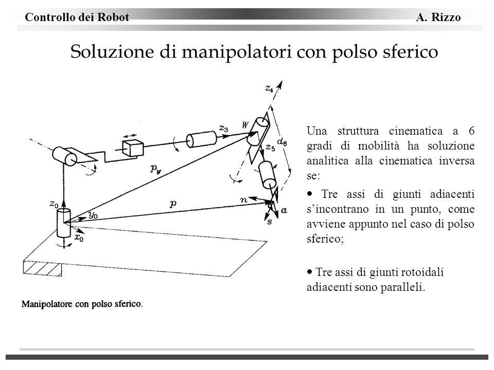 Controllo dei Robot A. Rizzo Soluzione di manipolatori con polso sferico Una struttura cinematica a 6 gradi di mobilità ha soluzione analitica alla ci