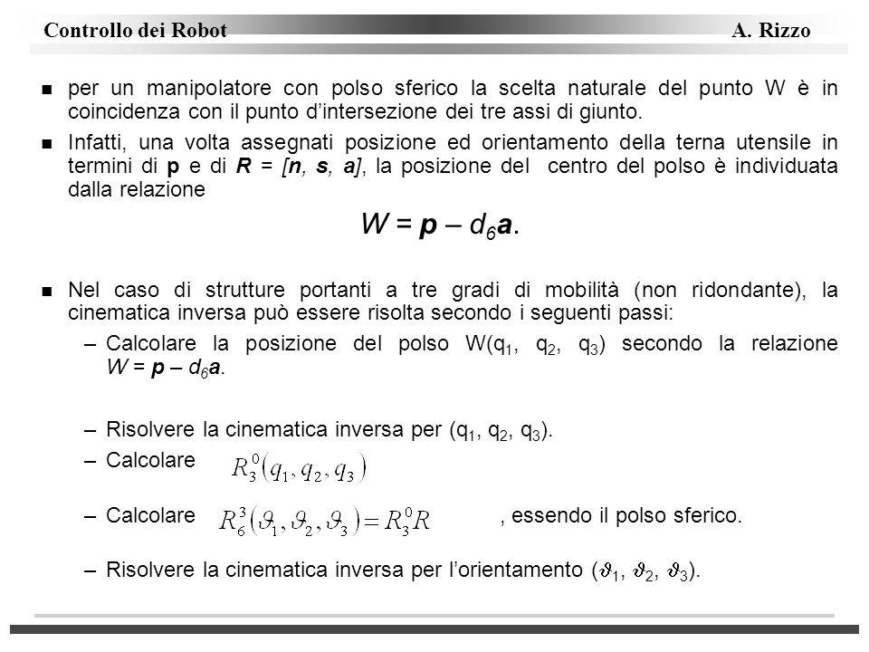 Controllo dei Robot A. Rizzo n per un manipolatore con polso sferico la scelta naturale del punto W è in coincidenza con il punto dintersezione dei tr