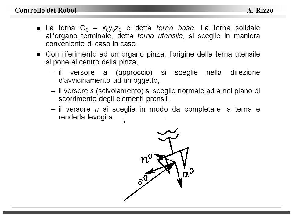 Controllo dei Robot A. Rizzo n La terna O 0 – x 0 y 0 z 0 è detta terna base. La terna solidale allorgano terminale, detta terna utensile, si sceglie