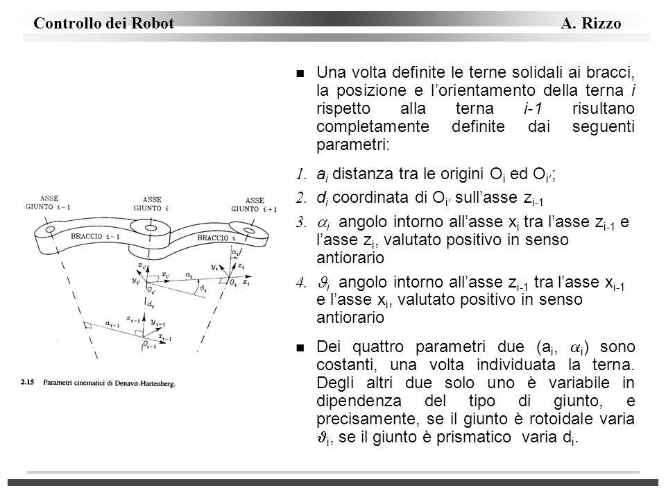 Controllo dei Robot A. Rizzo n Una volta definite le terne solidali ai bracci, la posizione e lorientamento della terna i rispetto alla terna i-1 risu