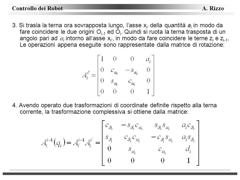 Controllo dei Robot A. Rizzo 3. Si trasla la terna ora sovrapposta lungo, lasse x i della quantità a i in modo da fare coincidere le due origini O i-1