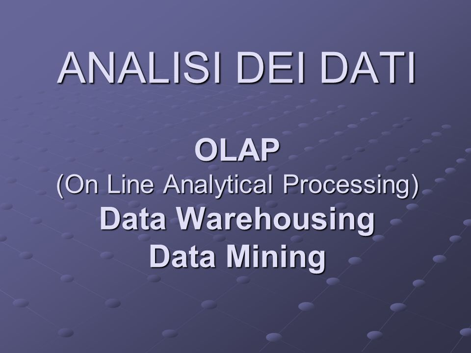 Architettura della DW (4) Data mining Consente di svolgere ricerche sofisticate sui dati e di esplicitare relazioni nascoste tra i dati.