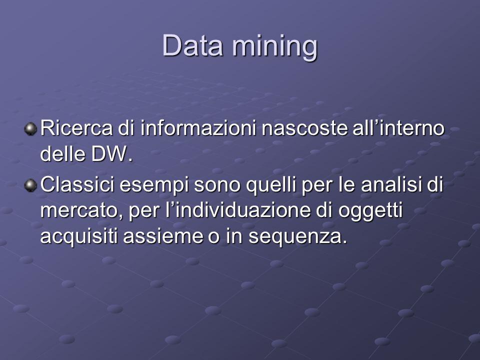 Data mining Ricerca di informazioni nascoste allinterno delle DW. Classici esempi sono quelli per le analisi di mercato, per lindividuazione di oggett