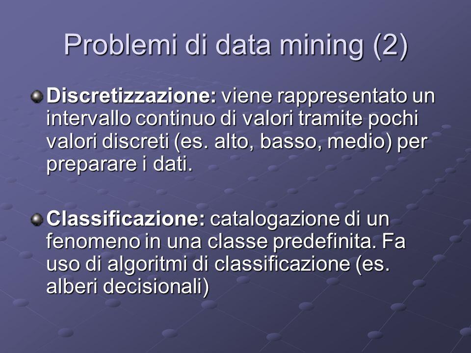 Problemi di data mining (2) Discretizzazione: viene rappresentato un intervallo continuo di valori tramite pochi valori discreti (es. alto, basso, med