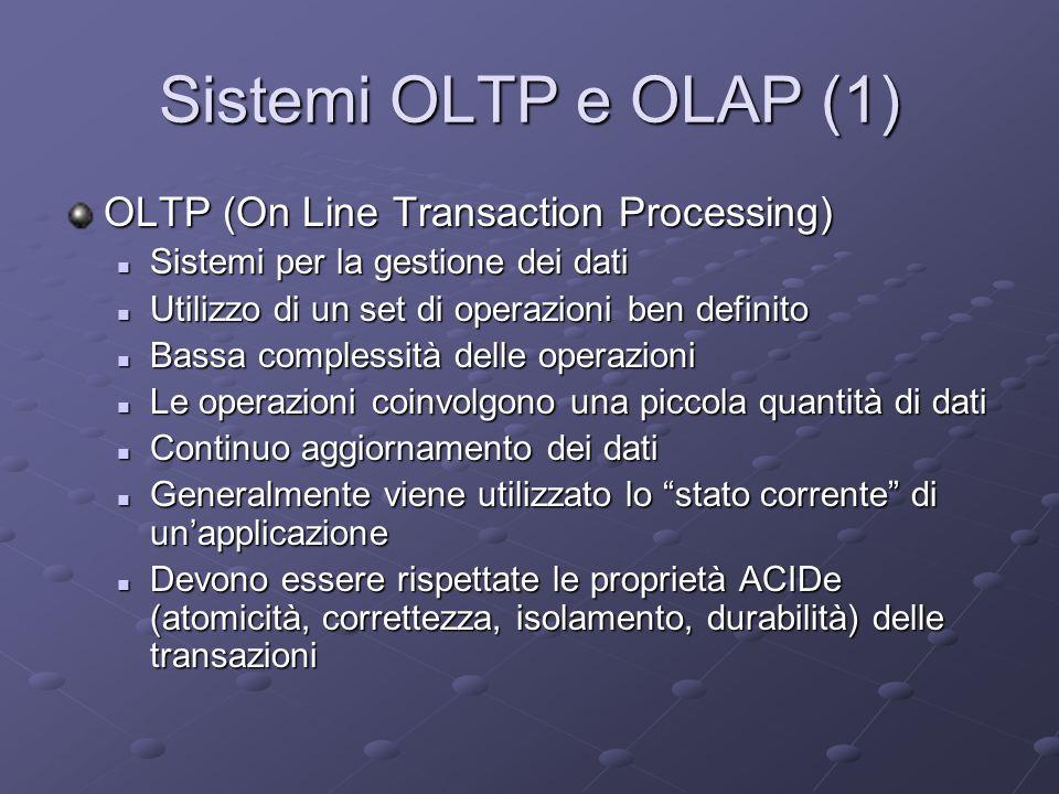 Sistemi OLTP e OLAP (2) OLAP (On Line Analytical Processing): Sistemi per lanalisi dei dati Sistemi per lanalisi dei dati Permettono di eseguire operazioni non previste nella progettazione del DB (sistemi di supporto alle decisioni) Permettono di eseguire operazioni non previste nella progettazione del DB (sistemi di supporto alle decisioni) Operano su grosse moli di dati Operano su grosse moli di dati I dati sono statici (usualmente si utilizzano dati storici) I dati sono statici (usualmente si utilizzano dati storici) Operano su dati provenienti da più fonti eterogenee Operano su dati provenienti da più fonti eterogenee Le proprietà ACIDe non sono rilevanti perché le operazioni sono di sola lettura Le proprietà ACIDe non sono rilevanti perché le operazioni sono di sola lettura