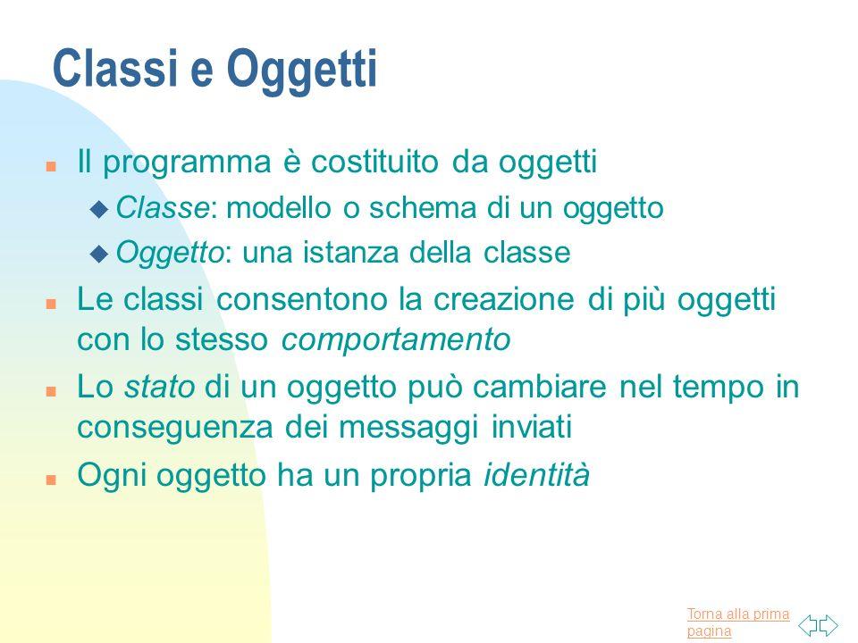 Torna alla prima pagina Classi e Oggetti n Il programma è costituito da oggetti u Classe: modello o schema di un oggetto u Oggetto: una istanza della