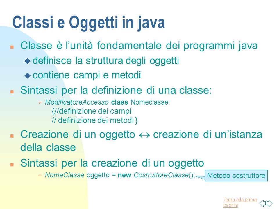 Torna alla prima pagina Classi e Oggetti in java n Classe è lunità fondamentale dei programmi java u definisce la struttura degli oggetti u contiene c