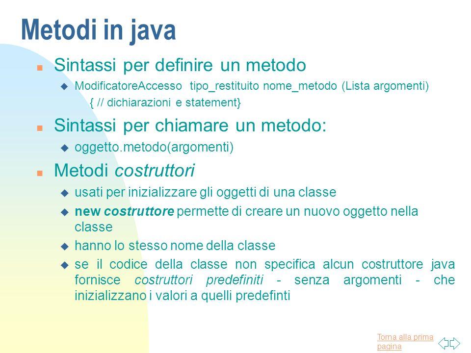 Torna alla prima pagina Metodi in java n Sintassi per definire un metodo u ModificatoreAccesso tipo_restituito nome_metodo (Lista argomenti) { // dich