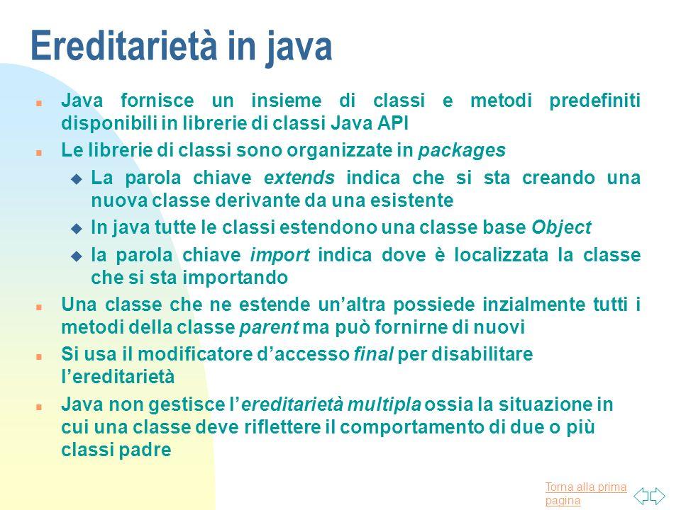 Torna alla prima pagina Ereditarietà in java n Java fornisce un insieme di classi e metodi predefiniti disponibili in librerie di classi Java API n Le