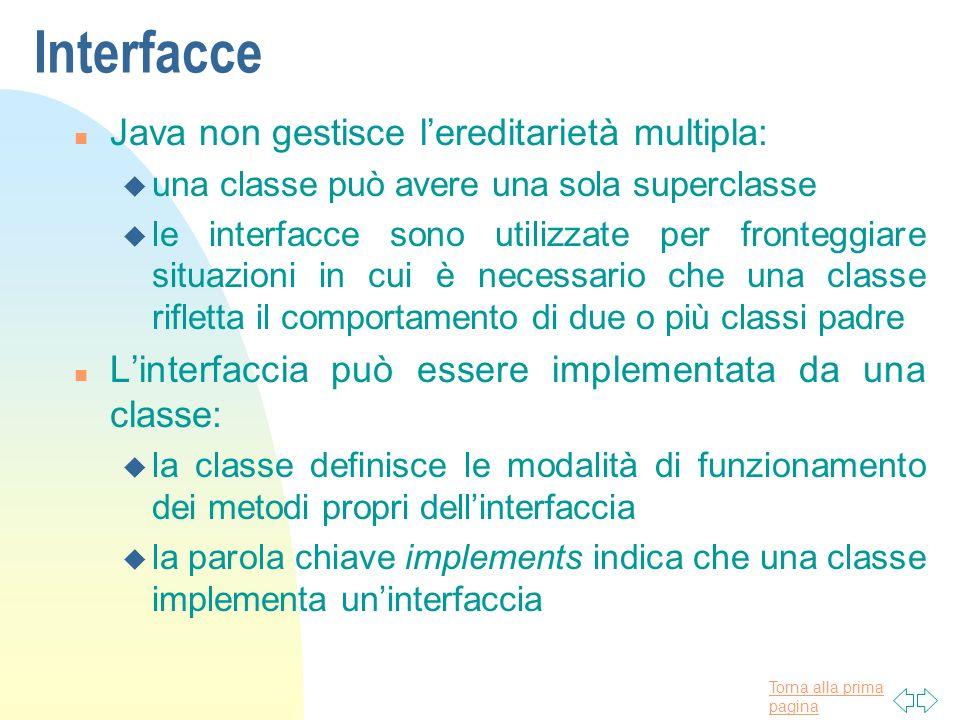 Torna alla prima pagina Interfacce n Java non gestisce lereditarietà multipla: u una classe può avere una sola superclasse u le interfacce sono utiliz
