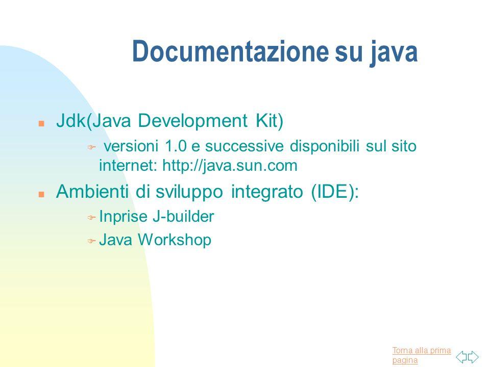 Torna alla prima pagina Documentazione su java n Jdk(Java Development Kit) F versioni 1.0 e successive disponibili sul sito internet: http://java.sun.