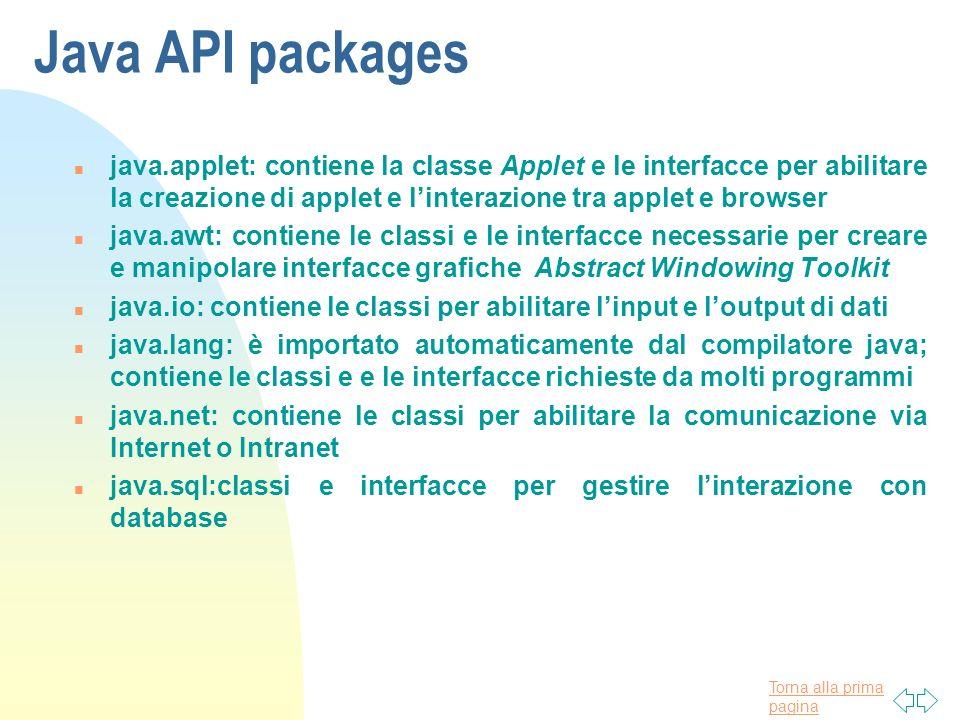 Torna alla prima pagina Java API packages n java.applet: contiene la classe Applet e le interfacce per abilitare la creazione di applet e linterazione
